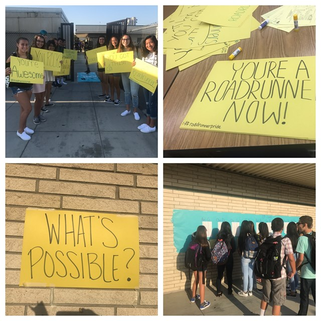 First day of school posters to welcome our new seventh graders and our returning eighth graders.